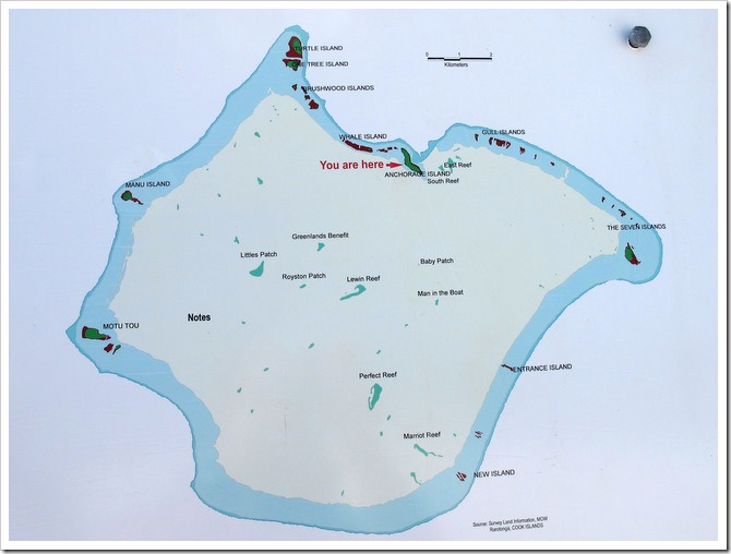 Map of Suwarrow Atoll and reefs